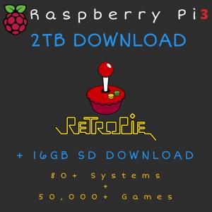 2TB Retropie DOWNLOAD + 16GB SD Card DOWNLOAD for Raspberry Pi 3B+ - 80+ Systems, 50,000+ Games - Plug & Play!