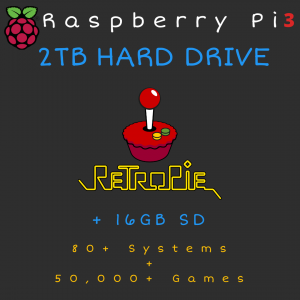 2TB Retropie HARD DRIVE + 16GB SD Card for Raspberry Pi 3B+ - 80+ Systems, 50,000+ Games - Plug & Play!