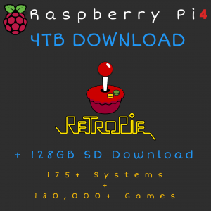 4TB Retropie DOWNLOAD + 128GB SD Card DOWNLOAD for Raspberry Pi 4 - 175+ Systems, 180,000+ Games - Plug & Play!