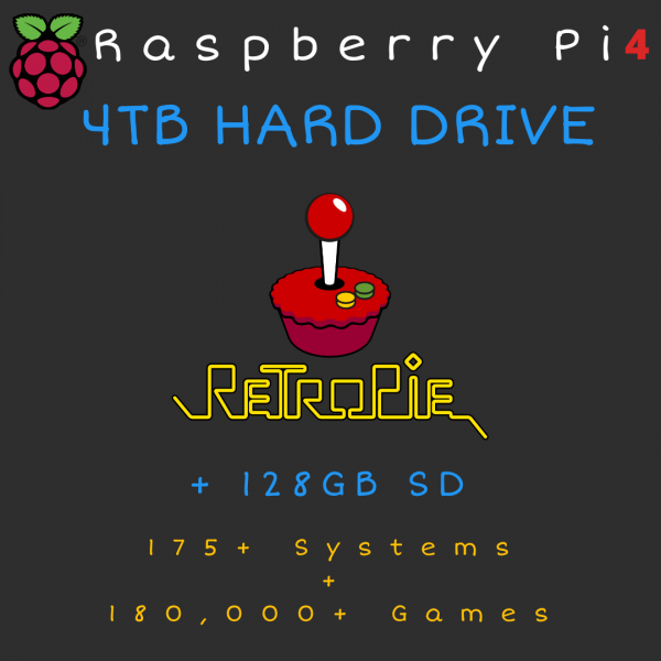 4TB Retropie HARD DRIVE + 128GB SD Card for Raspberry Pi 4 - 175+ Systems, 180,000+ Games - Plug & Play!